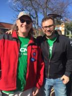 Local 965 members Steve Boss and Bret Schulte at the Fayetteville Women's March 2018.
