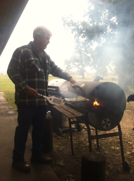 The greatest chef, Dwight Morris, grills at a AFSCME 965 Picnic.