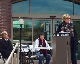 Denise Garner addresses the U of A Living Wage Rally on April 7, 2018, on the Fayetteville Town Center plaza. Garner, a longtime leader of Feed Fayetteville, is a Democratic candidate for Arkansas House District 84. Photo Bret Schulte