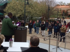 The U of A Living Wage Rally on April 7, 2018, had a compact but sturdy audience at the Fayetteville Town Center plaza. It was 29 degrees and had snowed earlier in the morning. Photo Bret Schulte