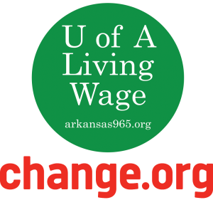 Graphic for change.org online petition to UA Living Wage Campaign