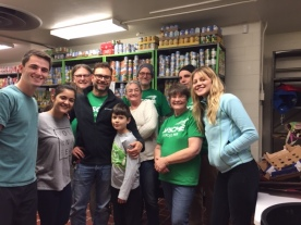 Local 965 members and family members volunteer Nov. 27, 2018, at the Jane B. Gearhart Full Circle Food Pantry at the University of Arkansas.