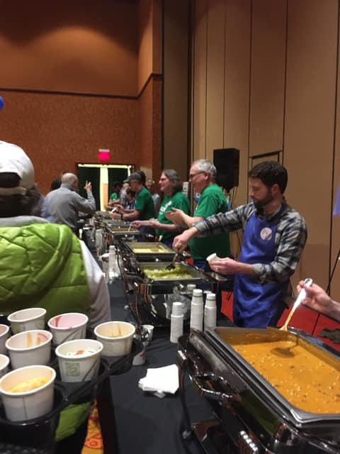 Local 965 volunteers help serve at the 2019 Soup Sunday benefit in Rogers, Arkansas.