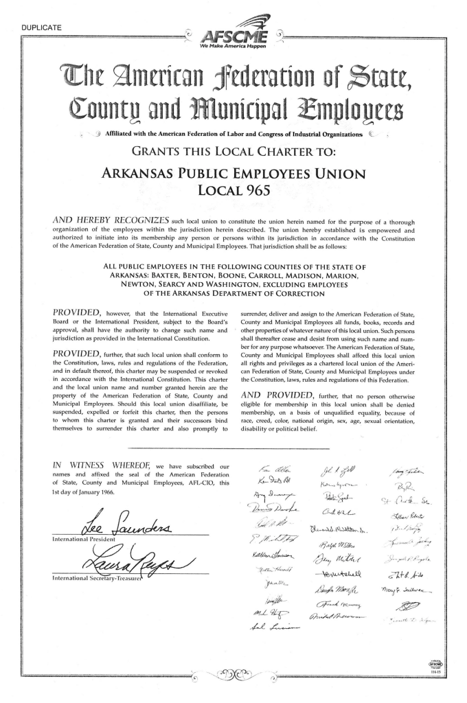 Charter of Local 965 from 1966
