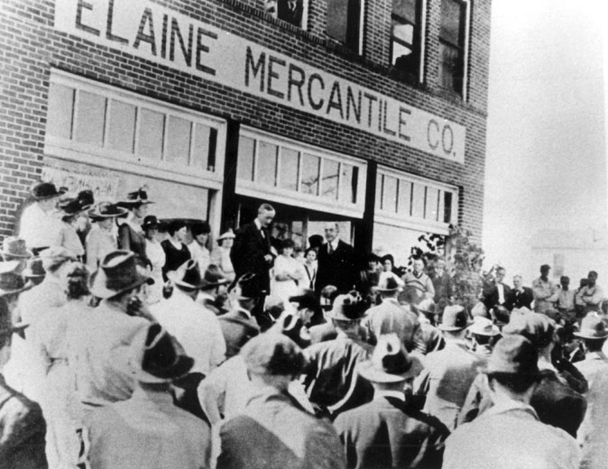 Arkansas Gov. Charles Hillman Brough addresses a crowd after the Elaine Massacre, October 1919.