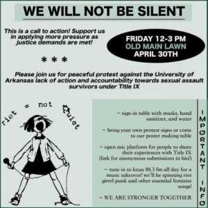 Flyer for April 30, 2021, campus rally over sexual assault policies and actions