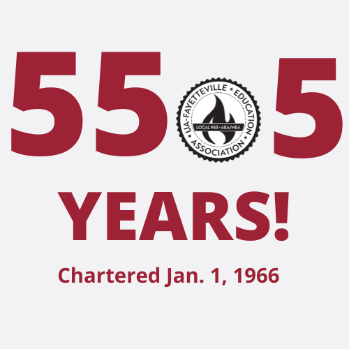 Graphic showing 55.5 years the Local has represented University of Arkansas employees, having been chartered on Jan. 1, 1966