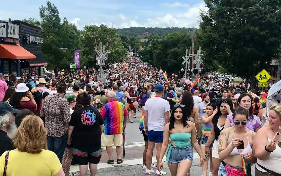 At-large board member Ted Swedenburg's photo immediately after the end of the 2021 Pride Parade in Fayetteville June 26 shows that thousands attended.